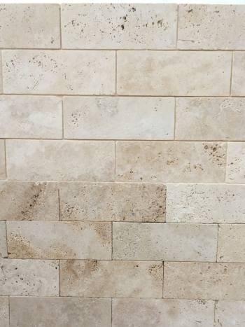 Obkladový kameň Travertín Classic-omielaný, tehlička 20,3x7,5x1 cm