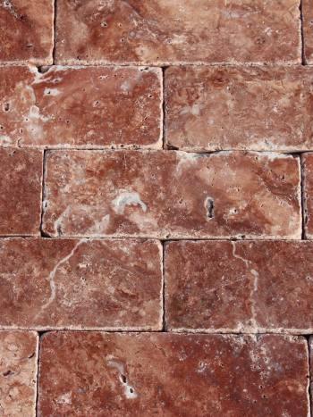Travertín Red-tehlička 203x7,5x1 cm
