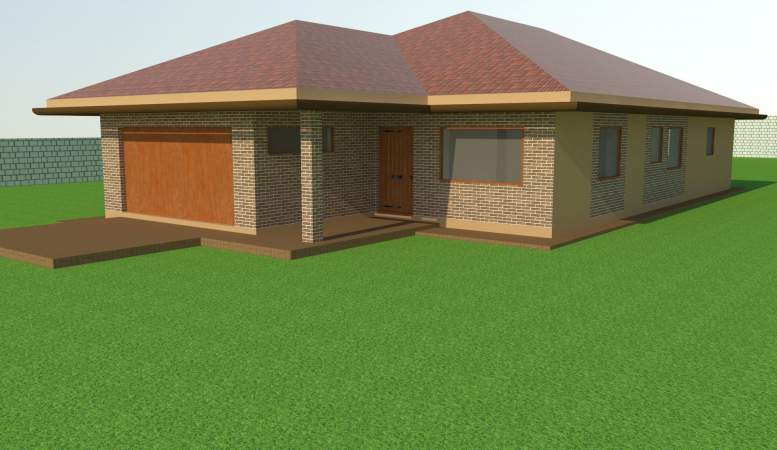 Vizualizacia fasady domu - tehlový obklad Argilla F30