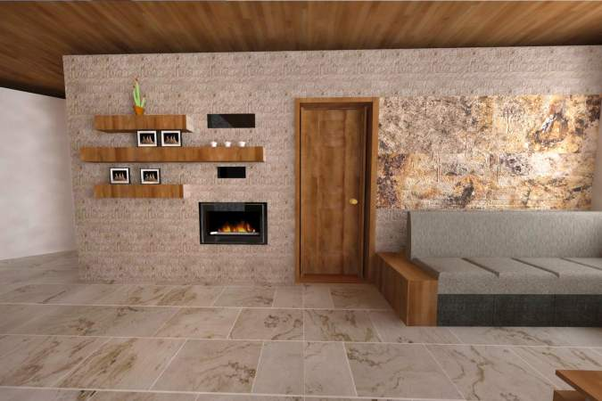 Vizualizácia steny v obývačke. Obklad Travertín KLASIK pásiky 8x10-40cm, v kombinácii s podsvietenou kamennou dyhou Indian Autumn 122x61cm