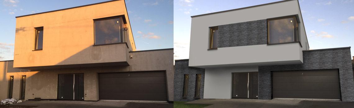 Vizualizacia fasady-obkladovy kamen